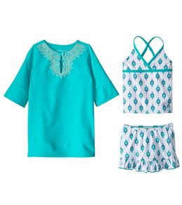 Cabana Life Girls' UPF 50+ Sardinia Sands Swimsuit & Cover Up Set (7-14)