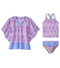 Cabana Life Girls' UPF 50+ Malibu Arrows Swimsuit & Cover Up Set (2T-6X)
