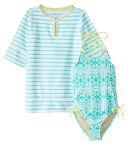 Cabana Life Girls' UPF 50+ Sunshine Shores Swimsuit & Cover Up Set (2T-6X)