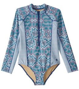 Cabana Life Girls' UPF 50+ Bali Seas L/S One Piece Swimsuit (7-14)