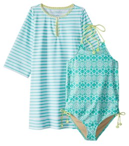 b5ec586ff6e05 Cabana Life Girls' UPF 50+ Sunshine Shores Swimsuit & Cover Up Set (7