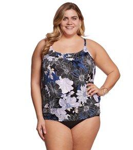 Shape Solver Plus Size Chelsea Floral Yoke Blouson Tankini Top