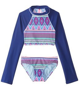 Gossip Girls' Stripe Fusion Rashguard Set (7-16)