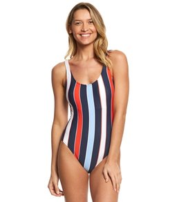 Tommy Hilfiger Speedy Stripe Deep Scoop Neck One Piece Swimsuit