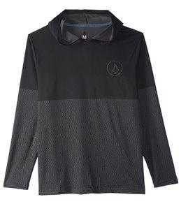 Volcom Men's Distortion Block Hooded Long Sleeve Surf Shirt
