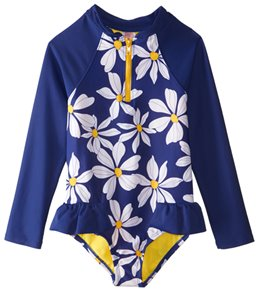 Hula Star Girls' Daisy Chain L/S One Piece Swimsuit (2T-6X)