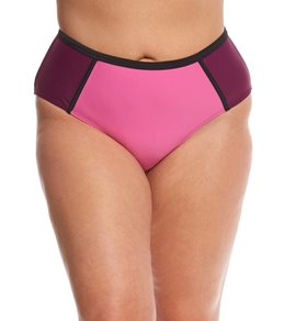 Paramour Plus Size Neo Colorblock High Waisted Bikini Bottom