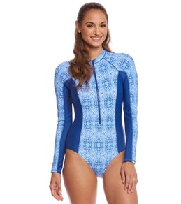 Cabana Life Moroccan Tile L/S One Piece Swimsuit