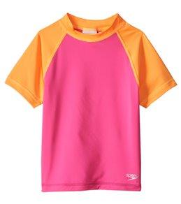 Speedo Girls' Short Sleeve Colorblock Rash Guard (4-6X)