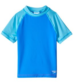 Speedo Girls' Short Sleeve Colorblock Rash Guard (4-6X)