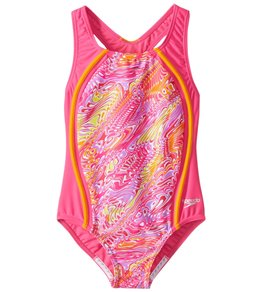 963026bb2e96d Speedo Girls' Sport Splice One Piece Swimsuit (Big ...