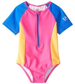 Speedo Girls' Learn To Swim Short Sleeve Zip One Piece Swimsuit (12mos-3T)