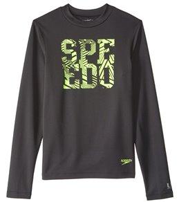 Speedo Boys' Zip Zing Logo Long Sleeve Swim Tee (6-20)