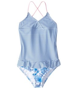 Platypus Australia Girls' Vintage Floral Skirted One Piece Swimsuit (6mos-8)