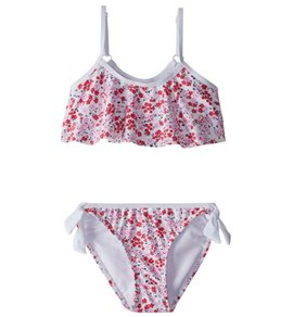 Snapper Rock Girls' Watercolor Hearts Flounce Bikini Set (2T-14)