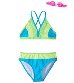 1d3bdb7c70 Jump N Splash Girls' Sea Adventure Color Block Bikini Set w/Free Goggles (