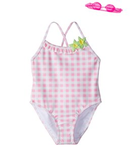 Jump N Splash Girls' Pink Dreamer Gingham One Piece Swimsuit w/Free Goggles (4-6)