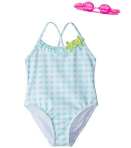 Jump N Splash Girls' Blue Dreamer Gingham One Piece Swimsuit w/Free Goggles (4-6)
