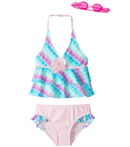 Jump N Splash Girls' Dreamer Sea Shell Tankini Set w/Free Goggles (4-6)