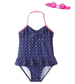 Jump N Splash Girls' Doll Face Anchor One Piece Swimsuit w/Free Goggles (4-6)
