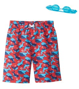 Jump N Splash Boys' Little Scientist Whale Swim Trunks w/Free Goggles (5-7)