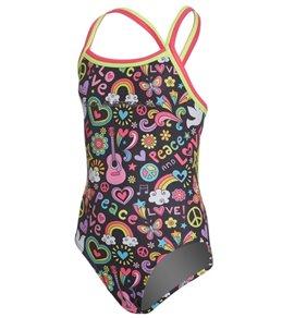 Slix Australia Girls' Love & Peace Straight One Piece Swimsuit