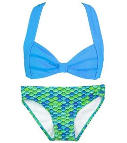 Fin Fun Zoey's Aussie Green Mermaid Clamshell Bikini Set (4T-12)
