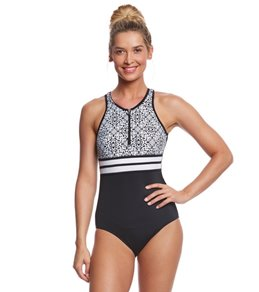 Fit4U Sea Lace High Neck One Piece Swimsuit
