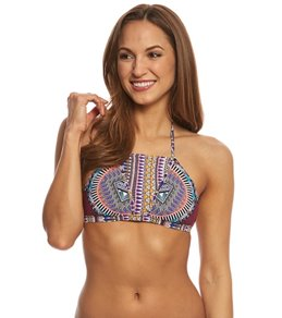 Red Carter Tribal Daze Halter Strappy Triangle Bikini Top
