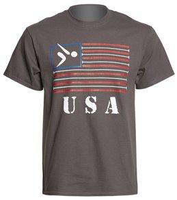 AMBRO Manufacturing Unisex American Flag Lane Line T Shirt