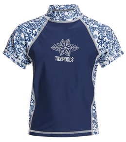 Tidepools Girls' Pineapple Short Sleeve UV 50+ Rashguard (2-14)