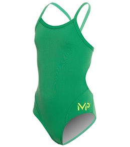 MP Michael Phelps Girls' Solid Mid Back One Piece Swimsuit