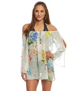 Rappi Silhouette Tropical Split Sleeve Peasant Dress