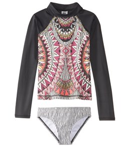 Billabong Girl's Boho Babe Long Sleeve Rashguard Bikini Set (4-14)
