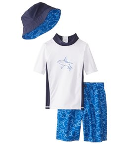 Sporti Boys' UPF 50+ S/S Rash Guard and Board Short Set with Sun Hat (2T-5T)