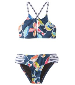 Splendid Girl's Tropical High Neck Two Piece Swimsuit
