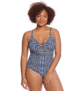 La Blanca Plus Size Designer Jeans Keyhole One Piece Swimsuit