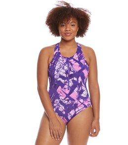 Dolfin Aquashape Women's Plus Size Mariposa Zip Front One Piece Swimsuit