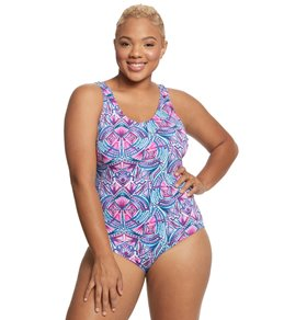 76b491debaa Dolfin Women's Plus Size AquaShape Print Moderate Scoop Back One Piece  Swimsuit