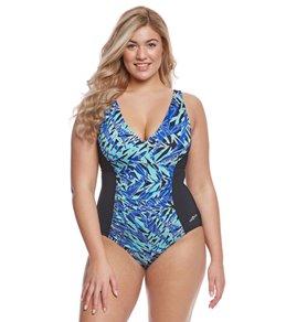 82286edd67c Dolfin Aquashape Women s Plus Size St Lucia Shirred Chlorine Resistant One  Piece Swimsuit