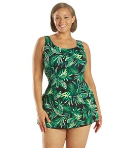 Sporti Plus Size Tropical Palm Leaf Swim Dress