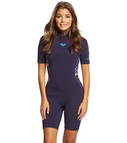 Roxy Women s 2 2MM Syncro Back Zip Short Sleeve Spring Suit 3c3f6a906