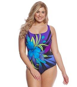 Longitude Plus Size Pinata Scoopneck One Piece Swimsuit