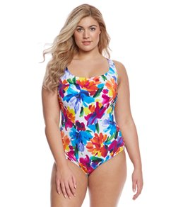 Longitude Plus Size Sweet Meadow Lace Back One Piece Swimsuit