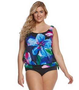 Maxine Plus Size Bloom Blouson Tankini Top