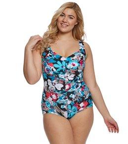 Maxine Plus Size Pop Floral Girl Leg One Piece Swimsuit