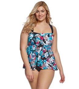 Maxine Plus Size Pop Floral Draped One Piece Swimsuit