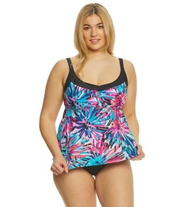 Maxine Plus Size Spinart Underwire Tankini Top