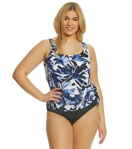 Maxine Plus Size Ink Blouson Tankini Top