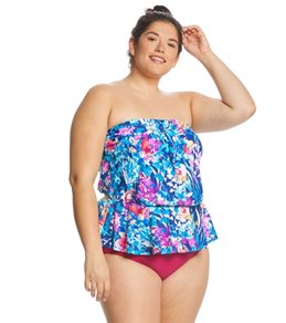 ec087951bed Maxine Plus Size French Bouquet Peplum Tankini Top